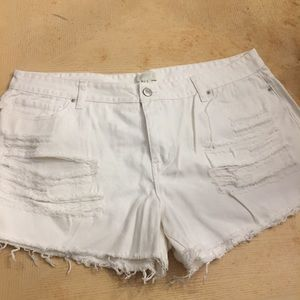 Forever 21 plus cut off white jeans shorts new